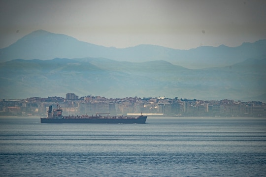 A view of the vessel the Clavel sailing on international waters crossing the Gibraltar stretch on Wednesday, May 20, 2020. (Marcos Moreno/AP)