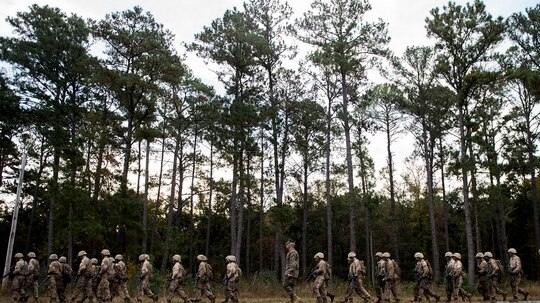 Marine Corps recruits march in formation during The Crucible at Marine Corps Recruit Depot, Parris Island, South Carolina, in 2015. (Staff Sgt. Kenneth W. Norman/Marine Corps)