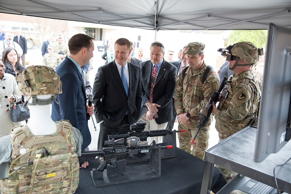 Army Undersecretary Ryan McCarthy visited Fort Belvoir, Virginia to see updated sensor and weapons technology along with three generals heading the Army's Cross Functional Teams aiming to push gear and training changes down to the soldier level faster. (Dustin Q. Diaz/Military Times)
