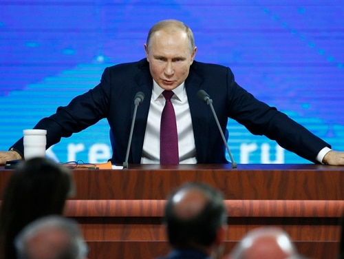 Russian President Vladimir Putin speaks during his annual news conference in Moscow on Thursday, Dec. 20, 2018, saying the U.S. intention to withdraw from the INF arms control treaty is escalating the global threat of nuclear conflict. (Alexander Zemlianichenko/AP)