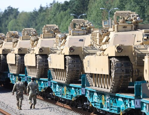 US Army Abrams tanks are pictured at Mockava railway station in Lithuania on Sept. 5, 2020. U.S. and European officials are hashing out an agreement that would tie both sides closer together on issues of military mobility planning. (Petras Malukas/AFP via Getty Images)
