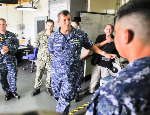 Rear Adm. Stephen Williamson, then-Director of Fleet Maintenance for the U.S. Pacific Fleet, visited Guam's Polaris Point on May 16, 2017. (Navy)