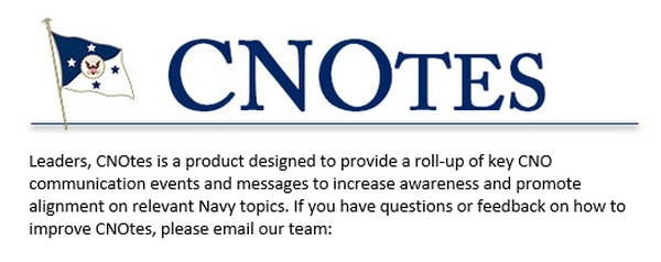 Chief of Naval Operations Adm. John Richardson's public affairs team puts out a weekly newsletter called