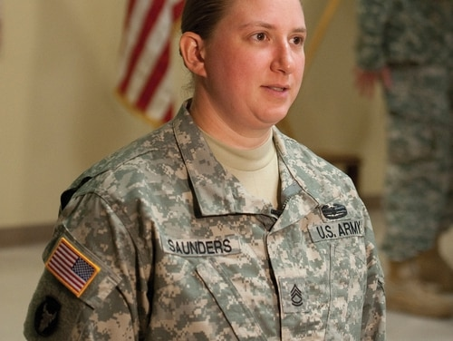 Sgt. 1st Class Sarah Saunders, 103rd Sustainment Command (Expeditionary), was the first female to graduate the Master Gunner Common Core Course June 27 at Fort Benning.