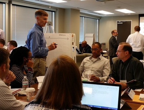 A group of veterans participate in the on-site portion of a recent Leveraging Military Leadership Program in Virginia. The three-month, mostly online and remote program, is provided by Korn Ferry and the Harris Corporation, and is free for all veterans and transitioning troops. (Photo courtesy Korn Ferry)