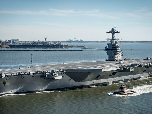 The electromagnetic launch system on the new carrier Gerald R. Ford has issues that mean it might not be ready for the furious sortie rate of a big fight, according to a Navy report. (Navy)