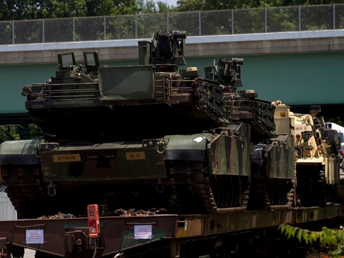 Abrams tanks are seen on a flat car in a rail yard, Tuesday, July 2, 2019, in Washington, ahead of a Fourth of July celebration that President Donald Trump says will include military hardware. (Jose Luis Magana/AP)