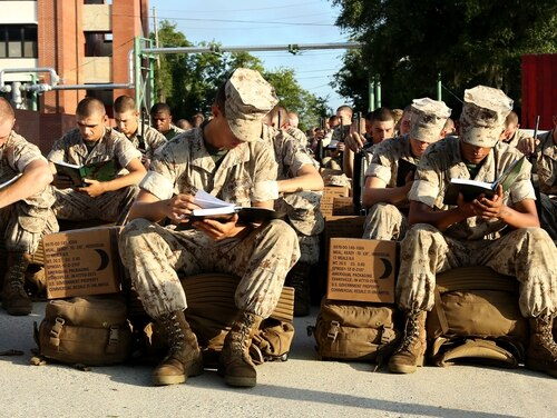 Recruits at Marine Corps Recruit Depot Parris Island prepare to evacuate to Marine Corps Logistic Base Albany following an evacuation order directed by Brig. Gen. James Glynn, the depot's commanding general.(Lance Cpl. Yamil Casarreal/Marine Corps)