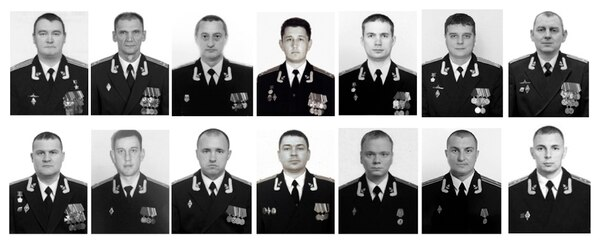 A combo of photos of the 14 crew members who died in a fire on a Russian navy's deep-sea research submersible was distributed on July 4 by the Russian Defense Ministry Press Service, shows from a top row: Captain 1st rank Denis Dolonsky, Captain 1st rank Nikolay Filin, Captain 1st rank Vladimir Abankin, Captain 1st rank Andrei Voskresensky, Captain 1st rank Anatoly Ivanov, Captain 1st rank Denis Oparin, Captain 1st rank Konstantin Somov, Bottom row: Captain 2nd rank Alexander Avdonin, Captain 2nd rank Sergei Danilchenko, Captain 2nd rank Dmitry Solovyov, medical service Colonel Alexander Vasilyev, Captain 3rd rank Viktor Kuzmin, Captain 3rd rank Vladimir Sukhinichev, Lt. Captain Mikhail Dubkov. The Defense Ministry said the 14 seamen were killed by toxic fumes from the blaze. (Russian Defense Ministry Press Service via AP)