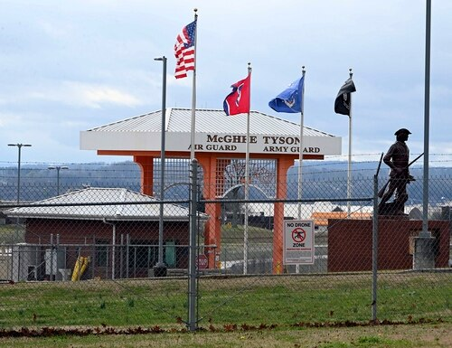The entrance to McGhee Tyson Air National Guard Base was locked down Wednesday, Jan. 15, 2020, after reports were received of shots being fired at the facility in Alcoa, Tenn. (Michael Patrick/AP)