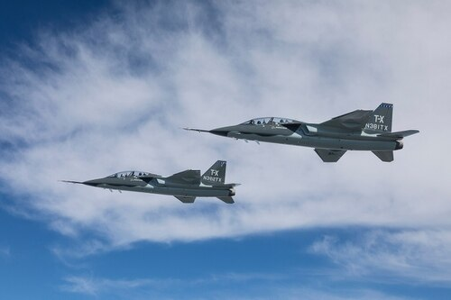 Boeing and Swedish aerospace firm Saab developed the only brand-new design for a T-X Advanced Pilot Trainer. Boeing is one of the three prime contractors competing for the contract, which will be awarded in March, according to Air Force officials. (Boeing)