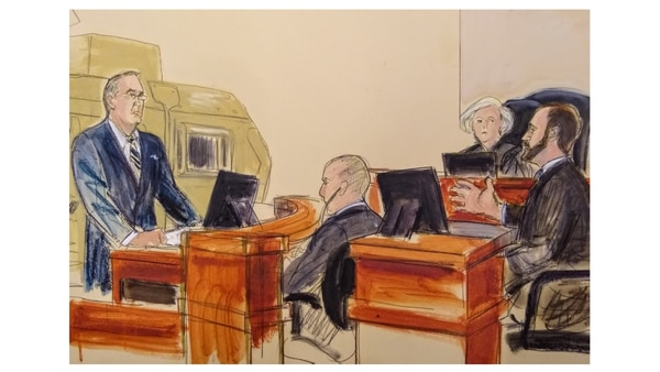 First Lt. Rusty Mason, who witnessed his fellow soldiers killed by an explosively formed penetrator bomb blast in Iraq, testifies in a federal trial against Iran for its role in attacks against U.S. troops in Iraq. (Elizabeth Williams/courtesy Osen law firm)
