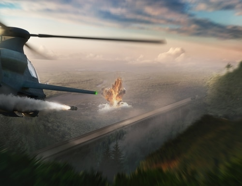 An artist rendering of a Bell 360 Invictus attack reconnaissance helicopter in action in a multidomain fight. Bell revealed the helicopter design as its entry into the U.S. Army's Future Attack Reconnaissance Aircraft competition Oct. 1, 2019. (Courtesy of Bell)