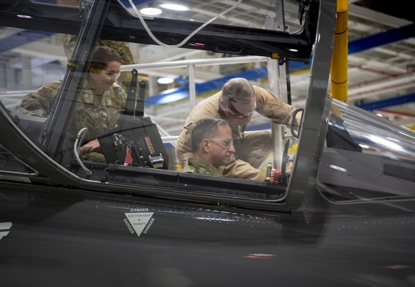 Then-Air Force Chief of Staff Gen. Dave Goldfein sits inside the cockpit of Boeing's T-X training jet during a visit to the company's production facility in St. Louis, Mo. (Boeing)