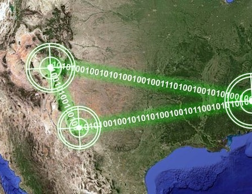 The IBCS system communicates between multiple bases and sensor systems across the United States during an external communications test. (Northrop Grumman)