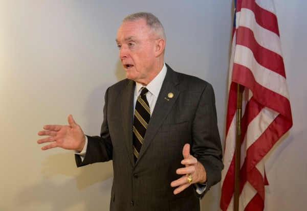 Retired Army Gen. Barry McCaffrey speaks to Military Times staffers and others as part of a 2016 office visit, during which he received a Vietnam Veteran lapel pin. Military Times is a community partner with the United States of America Vietnam War Commemoration; partner groups nationwide provide the pins to Vietnam-period veterans. (Alan Lessig/Staff)