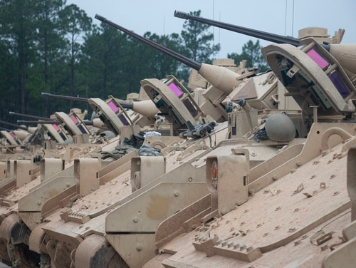 M2A2 Bradley Fighting Vehicles are staged in preparation to begin gunnery tables on Aug. 22, 2018, at Fort Stewart, Ga. (Sgt. Brian Johnston/Army)