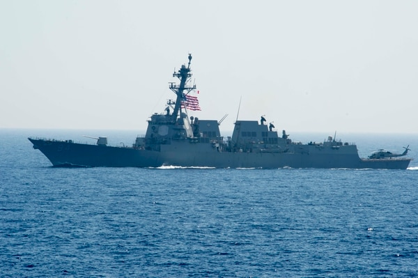 160625-N-TC720-116 MEDITERRANEAN SEA (June 25, 2016) USS Nitze (DDG 94) transits the Mediterranean Sea June 25, 2016. Nitze is conducting a routine patrol in the U.S. 6th Fleet area of operations in support of U.S. national security interests in Europe. (U.S. Navy photo by Mass Communication Specialist 2nd Class Mat Murch/Released)