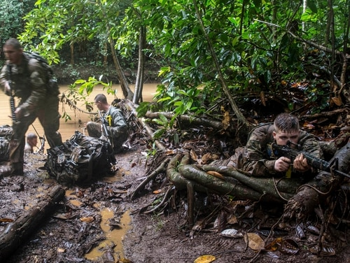 In this March 1, 2017, photo, soldiers from the U.S. Army's 25th Infantry Division 1st Stryker Brigade Combat Team participate in jungle warfare training at Schofield Barracks, Hawaii. The Army has set up a jungle training course amid a renewed focus on Asia and the Pacific after more than a decade of war in Iraq and Afghanistan. (AP Photo/Daniel Lin)