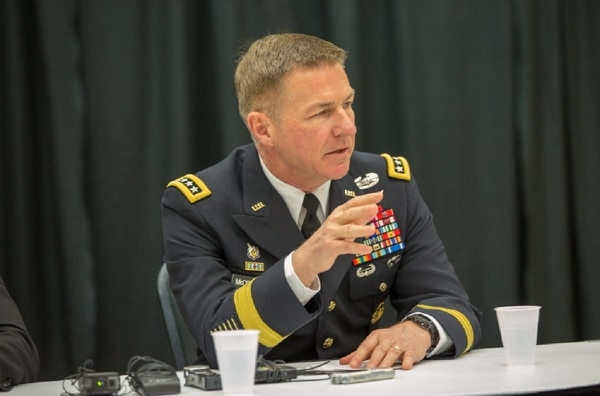 Army Vice Chief of Staff Gen. James McConville speaks March 26 at the AUSA Global Force Symposium in Huntsville, Alabama. (Jeff Martin/Staff)