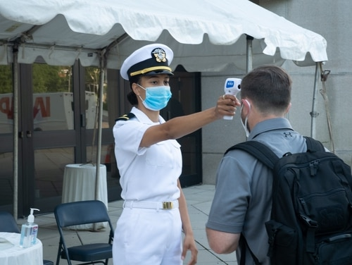 The United States Naval Academy welcomes the incoming 4th class midshipmen, or plebes, of the Class of 2024 on July 1, 2020, during a four-day induction process due to restrictions set forth by the COVID-19 pandemic for this 2020 year. (Kenneth D. Aston Jr./Navy)