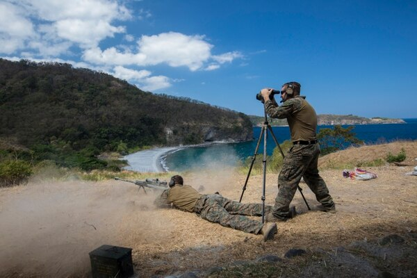 Marines conduct sniper drills during a long range scout sniper training event at Ternate, Cavite, Philippines, as part of Exercise Balikatan, April 4. (Lance Cpl. Angelo Sagum/Marine Corps)