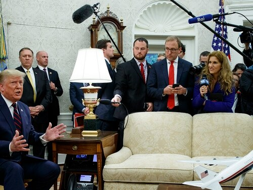 President Donald Trump speaks during a meeting with Italian President Sergio Mattarella in the Oval Office of the White House Wednesday. (Evan Vucci/AP)