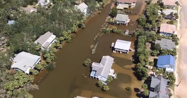 A screen shot from a video of Edisto Island, South Carolina, taken from an Army National Guard LUH-72A Lakota utility helicopter shortly after Hurricane Irma made landfall in September 2017. VA has requested that lenders delay storm-related foreclosure proceedings for those hit by three major hurricanes last year. (Video by Sgt. Ken Burton/Army)