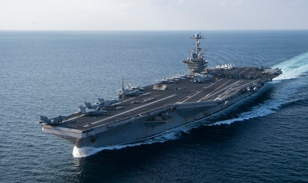 The aircraft carrier Harry S. Truman transits the Arabian Sea. The Navy's carrier deployment plan in under review at the highest levels of the U.S. military. (U.S. Navy photo by MC2 Scott Swofford)