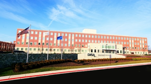 A front view of the new Defense Information Systems Agency building complex at Fort Meade, Md., Jan. 2, 2013. (DoD photo by Thomas L. Burton)