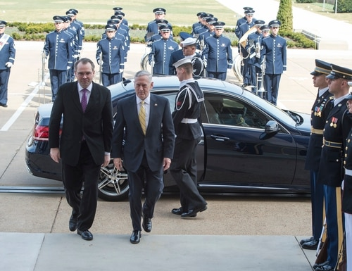 U.S. Defense Secretary Jim Mattis hosts an enhanced honor cordon for Finnish Minister of Defence Jussi Niinisto, left, at the Pentagon in Washington, D.C., on March 21, 2016. (Tech. Sgt. Brigitte N. Brantley/U.S. Defense Department)