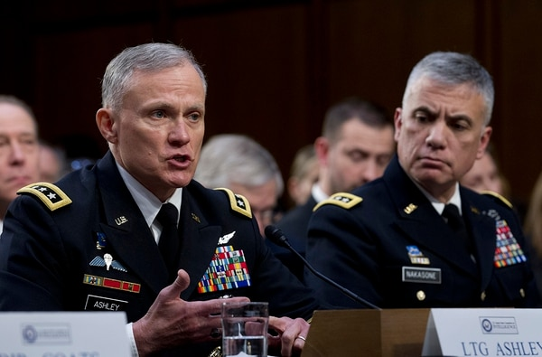 Defense Intelligence Agency Director Gen. Robert Ashley, left, accompanied by National Security Agency Director Gen. Paul Nakasone testifies before the Senate Intelligence Committee on Capitol Hill in Washington Tuesday, Jan. 29, 2019. (Jose Luis Magana/AP)
