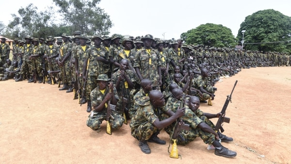 Recruits undergo training at the headquarters of the Depot of the Nigerian Army in Zaria, Kaduna State in north-central Nigeria, on Oct. 5, 2017. The Nigerian Army train recruits to tackle the threat of the Islamist group Boko Haram. (Pius Utomi Ekpei/AFP via Getty Images)