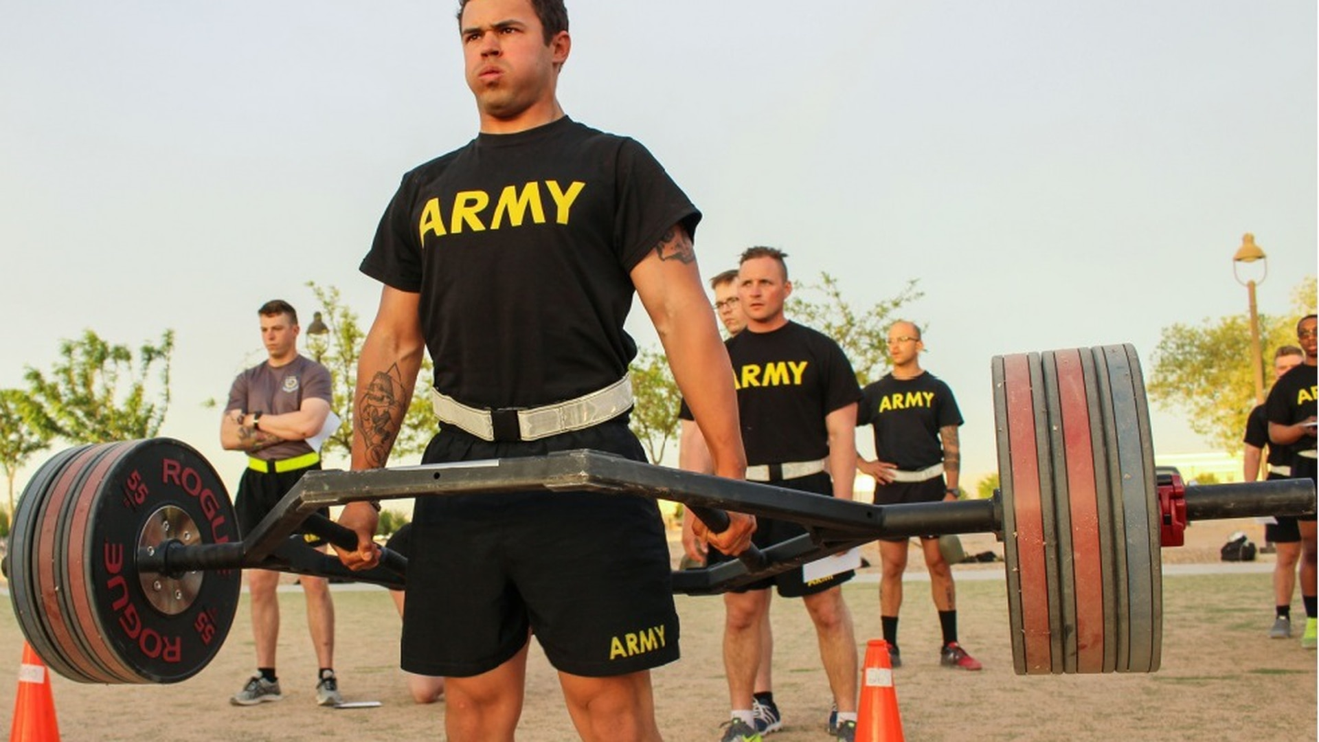 A soldier conducts a dead lift during a pilot program for the Army Combat Fitness Test at Fort Bliss, Texas, last year. (Sgt. Brittany Johnson/Army)