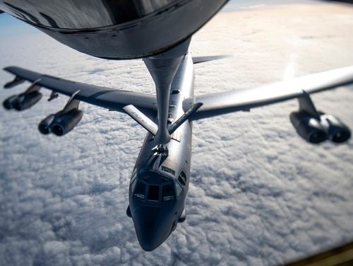 A B-52 Stratofortress receives fuel from a KC-135 Stratotanker from the 100th Air Refueling Wing, RAF Mildenhall, England, during a strategic bomber mission May 7. (Tech. Sgt. Emerson Nuñez/Air Force)