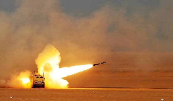 The Army wants a launch pod missile container that is compatible with the M142 high mobility rocket system, shown here in action in 2016 in Kuwait. (Sgt. Aaron Ellerman/Army)