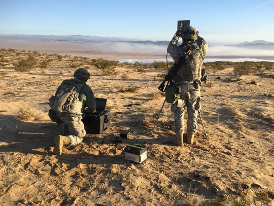 Soldiers with the 780th Military Intelligence Brigade conduct cyberspace operations during a training rotation for the 2nd Stryker Brigade Combat Team, 2nd Infantry Division, at the National Training Center at Fort Irwin, Calif., Jan. 24. (U.S. Army photo)