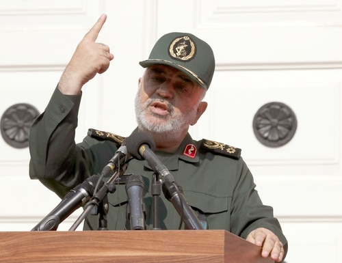 In this Nov. 2, 2019, file photo, Chief of Iran's Revolutionary Guard Gen. Hossein Salami speaks in a ceremony to unveil new anti-U.S. murals painted on the walls of former U.S. embassy in Tehran, Iran. (Vahid Salemi/AP)