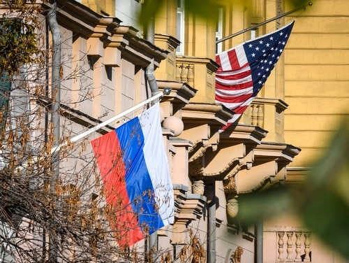 A Russian flag flies next to the US Embassy building in Moscow on Oct. 22, 2018. (Mladen Antonov/AFP via Getty Images)