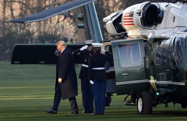 U.S. President Donald Trump arrives at The Grove hotel and resort in Watford, Hertfordshire, England, Wednesday, Dec. 4, 2019, for a NATO leaders' meeting. (Evan Vucci/AP)