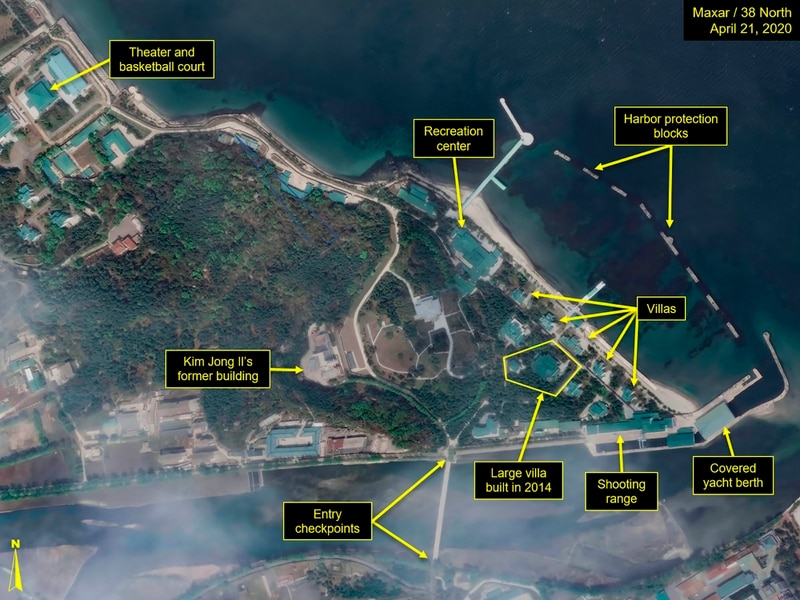 This April 21, 2020, satellite image provided by Maxar Technologies and annotated by 38 North, a website specializing in North Korea studies, shows overview of Wonsan complex in Wonsan, North Korea. (Maxar Technologies via AP)