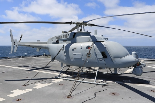 An MQ-8C Fire Scout is chained to the flight deck of the Independence-class littoral combat ship Coronado. (Ensign Jalen Robinson/U.S. Navy)