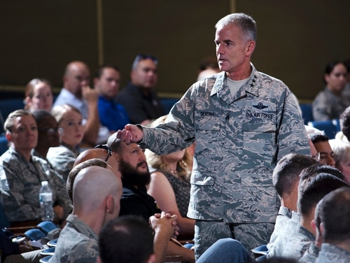Air Force Academy superintendent Lt. Gen. Jay Silveria talks with airmen during an all call at Arnold Hall Theater Aug. 17. Silveria took command of the school Aug. 11. (Mike Kaplan/Air Force)