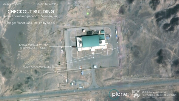 This Aug. 9, 2019, satellite image shows activity at the Imam Khomeini Space Center in Iran's Semnan province. (Planet Labs Inc, Middlebury Institute of International Studies via AP)