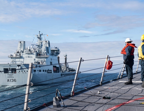 Arleigh Burke-class guided-missile destroyer Ross returned to operate in the Barents Sea Oct. 19. (U.S. Navy)