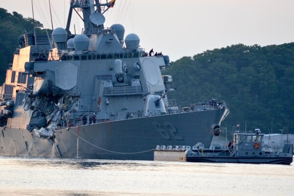 Preliminary findings into the fatal June 17 collision of the destroyer Fitzgerald with a container ship suggest the Navy crew was at fault, CNN reported Friday. (MC1 Peter Burghart/Navy)