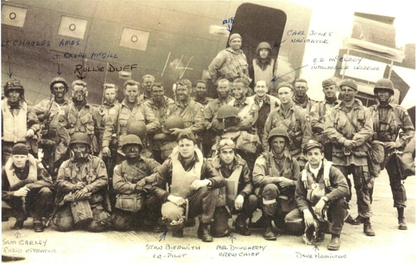 Pathfinder flight crews posing before on their C-47 pathfinder aircraft. Lt. Col. David Hamilton, D-Day pilot is front row, bottom, right.
