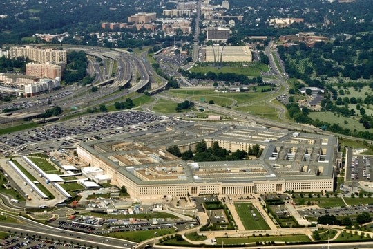 Aerial of the Pentagon, the Department of Defense headquarters in Arlington, Va., near Washington.