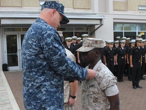 Future midshipman Nixon Keago in his Marine uniform at the Naval Academy Preparatory School on Oct. 6, 2016. (Navy)