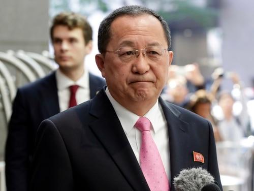 North Korea's Foreign Minister Ri Yong Ho speaks outside the U.N. Plaza Hotel, in New York, Monday, Sept. 25, 2017. (Richard Drew/AP)